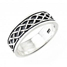 Ezüst Kelta Fonott Mintás Gyűrű