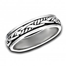 Ezüst Szövött Mintás Pörgethető Gyűrű