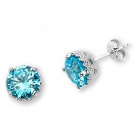 Silver Elegance Ezüst Fülbevaló Kék Topáz CZ kövekkel
