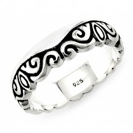 Ezüst Bali Stílusú Gyűrű Hullám Mintával