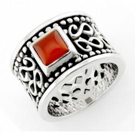 Ezüst Bali Stílusú Gyűrű Karnelian Kővel