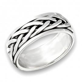Ezüst Unisex Pörgethető Fonott Mintás Gyűrű