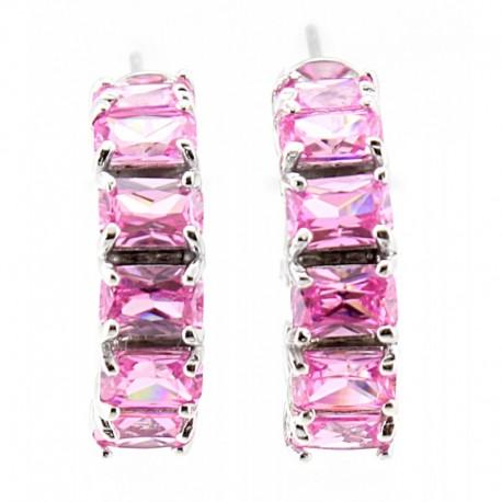 Ezüst Karika Fülbevaló Pink Cubic Cirkóniával