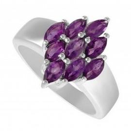 Sterling Ezüst Gyűrű Ametiszt Drágakővel