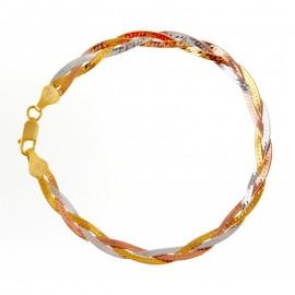 Háromszínű Aranyozott Ezüst Karkötő